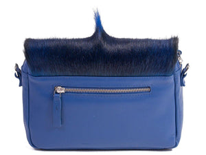 sherene melinda springbok hair-on-hide royal blue leather shoulder bag Fan back