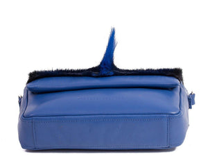 sherene melinda springbok hair-on-hide royal blue leather shoulder bag Fan bottom