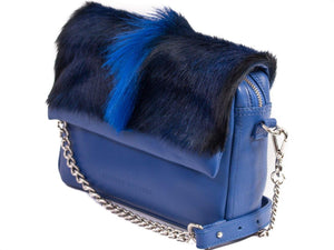 sherene melinda springbok hair-on-hide royal blue leather shoulder bag Fan side angle strap