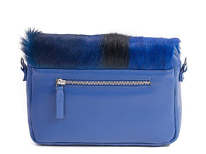 sherene melinda springbok hair-on-hide royal blue leather shoulder bag Stripe back