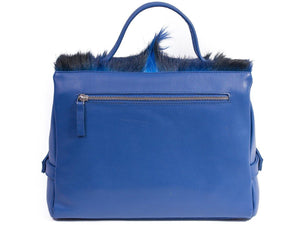 sherene melinda springbok hair-on-hide royal blue leather smith tote bag Fan back