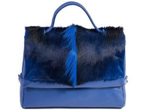 sherene melinda springbok hair-on-hide royal blue leather smith tote bag Fan front