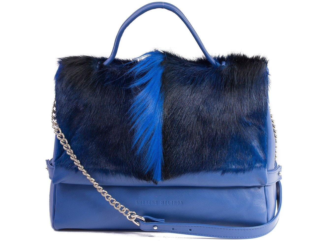 sherene melinda springbok hair-on-hide royal blue leather smith tote bag fan front strap