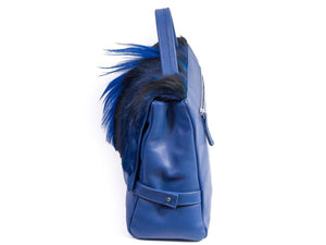 sherene melinda springbok hair-on-hide royal blue leather smith tote bag Fan side