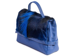 sherene melinda springbok hair-on-hide royal blue leather smith tote bag Fan side angle