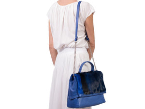 sherene melinda springbok hair-on-hide royal blue leather smith tote bag stripe context