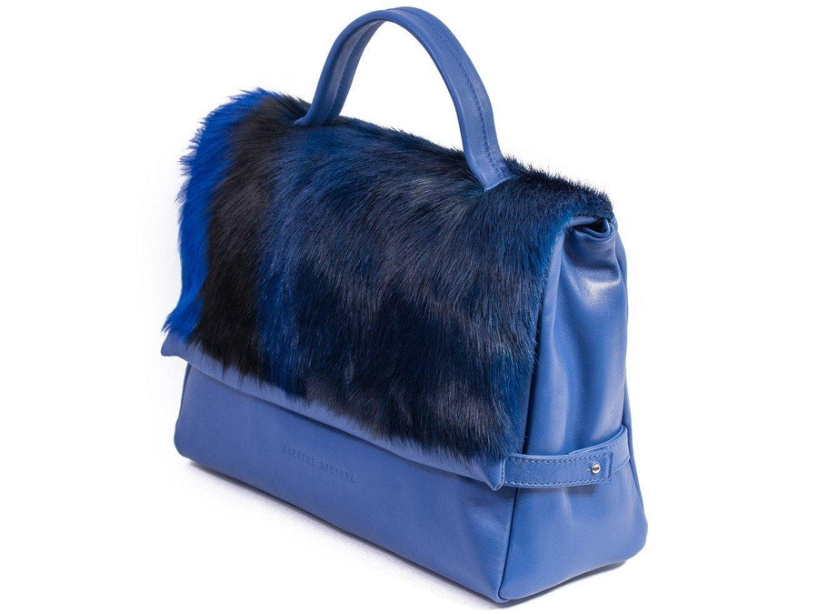 sherene melinda springbok hair-on-hide royal blue leather smith tote bag stripe front strap