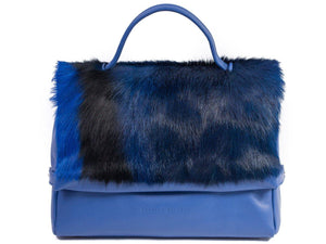 sherene melinda springbok hair-on-hide royal blue leather smith tote bag Stripe side-front