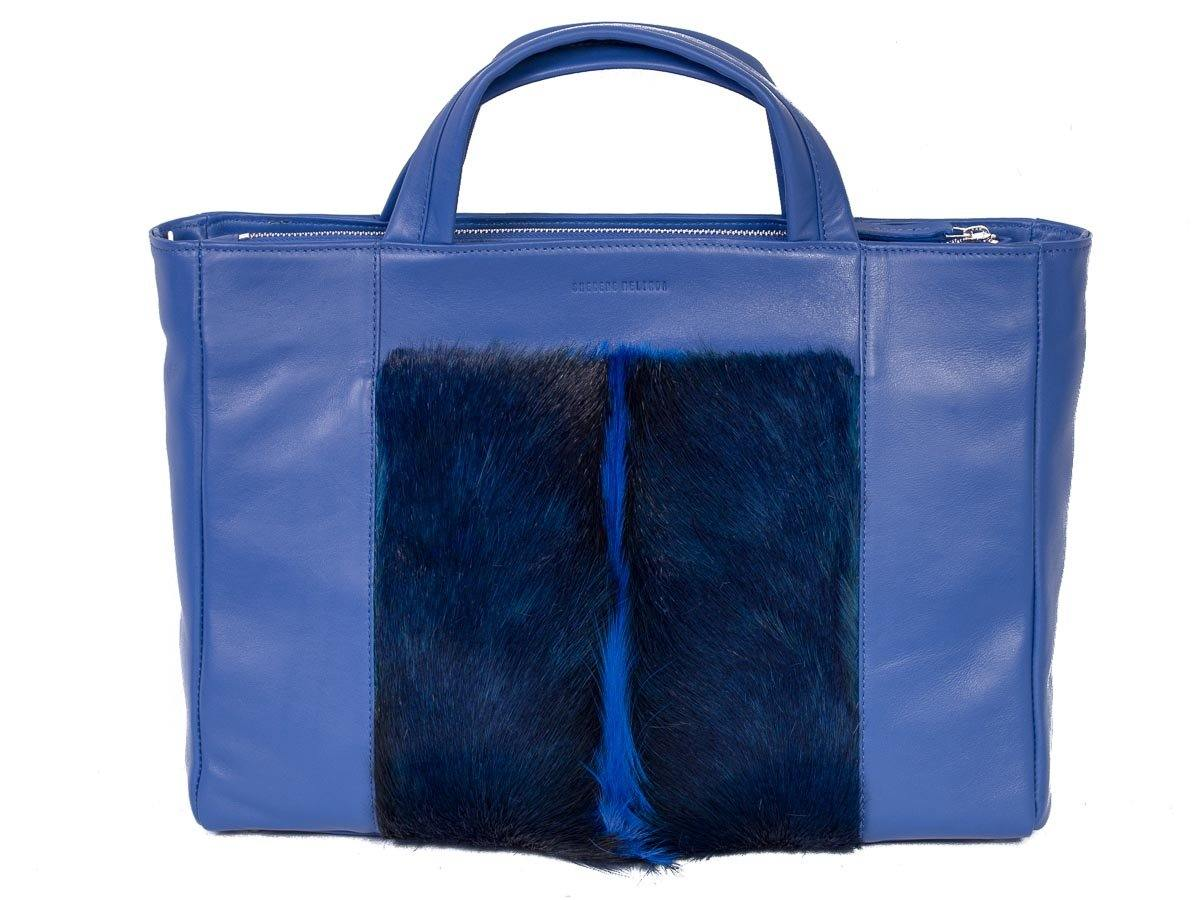 Tote Springbok Handbag in Royal Blue with a fan by Sherene Melinda Front Strap