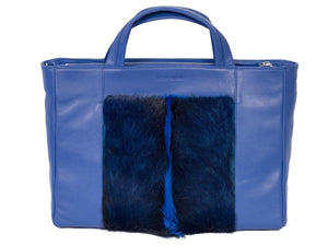 Tote Springbok Handbag in Royal Blue with a fan by Sherene Melinda Front