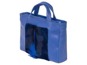 Tote Springbok Handbag in Royal Blue with a fan by Sherene Melinda Front Side Angle