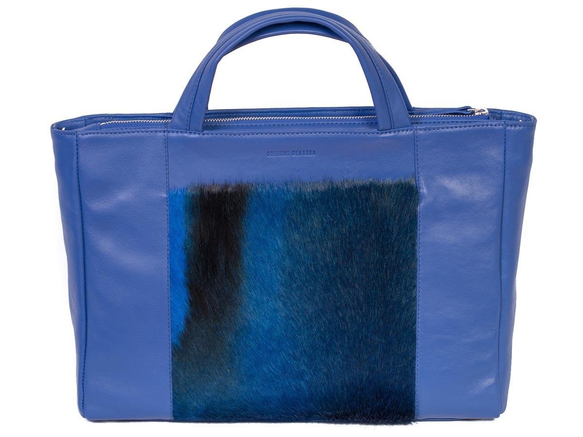 Tote Springbok Handbag in Royal Blue with a Stripe by Sherene Melinda Front Strap