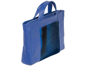 Tote Springbok Handbag in Royal Blue with a Stripe by Sherene Melinda Side Angle Front