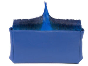 sherene melinda springbok hair-on-hide royal blue leather Sophy SS18 Clutch Bag Fan back
