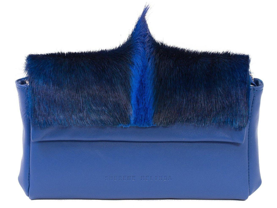 sherene melinda springbok hair-on-hide royal blue leather Sophy SS18 Clutch Bag fan front strap