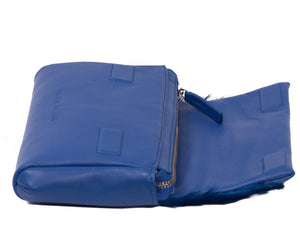 sherene melinda springbok hair-on-hide royal blue leather Sophy SS18 Clutch Bag open