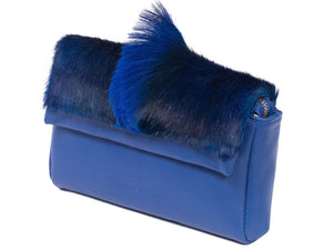 sherene melinda springbok hair-on-hide royal blue leather Sophy SS18 Clutch Bag Fan side angle
