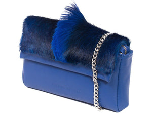 sherene melinda springbok hair-on-hide royal blue leather Sophy SS18 Clutch Bag Fan side angle strap