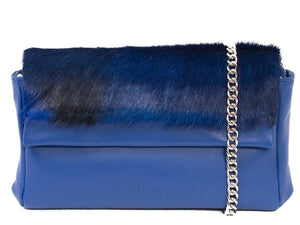 sherene melinda springbok hair-on-hide royal blue leather Sophy SS18 Clutch Bag stripe front strap