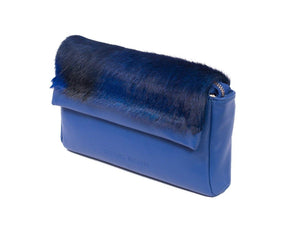 sherene melinda springbok hair-on-hide royal blue leather Sophy SS18 Clutch Bag Stripe side angle