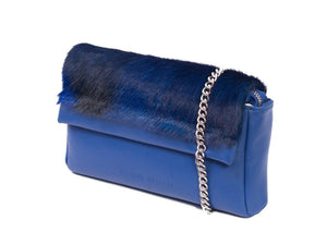 sherene melinda springbok hair-on-hide royal blue leather Sophy SS18 Clutch Bag Stripe side angle strap