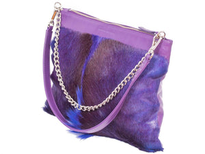 Multiway Springbok Handbag in Violet with a Fan by Sherene Melinda Side Angle Strap