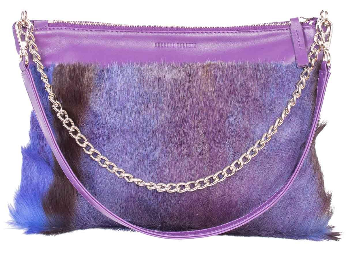 Multiway Springbok Handbag in Violet with a Stripe by Sherene Melinda Front Strap