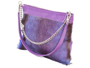 Multiway Springbok Handbag in Violet with a Stripe by Sherene Melinda Side Angle Strap