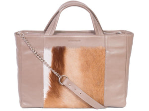Tote Springbok Handbag in Winter with a Stripe by Sherene Melinda Front Strap