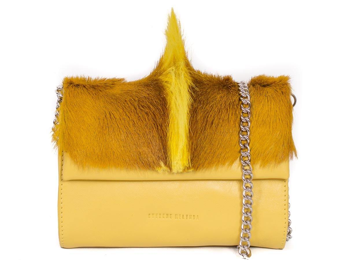 Mini Springbok Handbag in Yellow with a Fan by Sherene Melinda Side Angle Strap