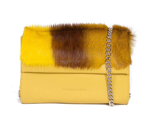 Mini Springbok Handbag in Yellow with a Stripe by Sherene Melinda Front Strap