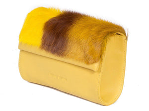 Mini Springbok Handbag in Yellow with a Stripe by Sherene Melinda Side Angle