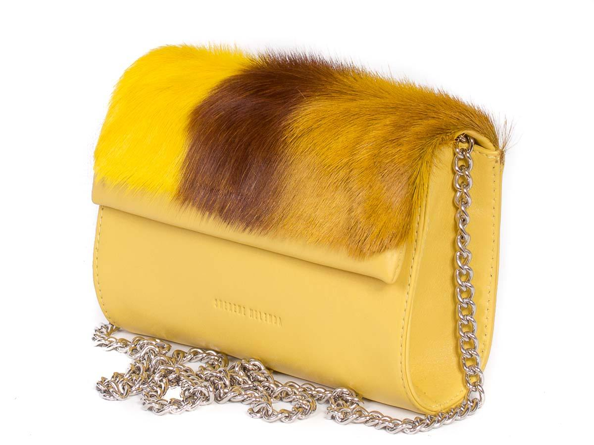 Mini Springbok Handbag in Yellow with a Stripe by Sherene Melinda Side Angle Strap