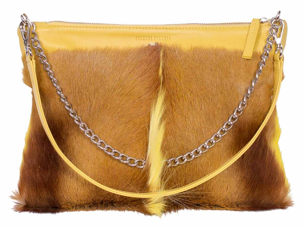 Multiway Springbok Handbag in Yellow with a Fan by Sherene Melinda Front Strap