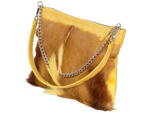 Multiway Springbok Handbag in Yellow with a Fan by Sherene Melinda Side Angle Strap