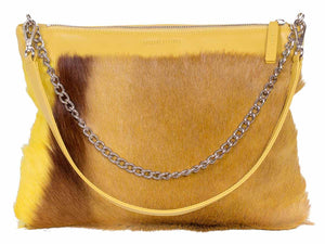 Multiway Springbok Handbag in Yellow with a Stripe by Sherene Melinda Front Strap