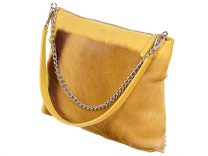 Multiway Springbok Handbag in Yellow with a Stripe by Sherene Melinda Side Angle Strap