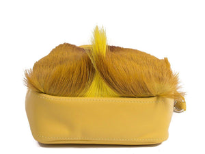 sherene melinda springbok hair-on-hide yellow leather pouch bag Fan bottom