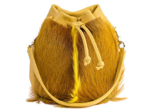sherene melinda springbok hair-on-hide yellow leather pouch bag Fan front