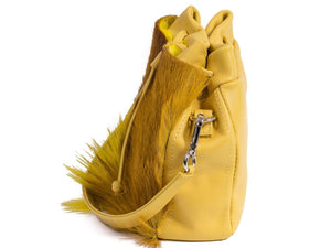 sherene melinda springbok hair-on-hide yellow leather pouch bag Fan side