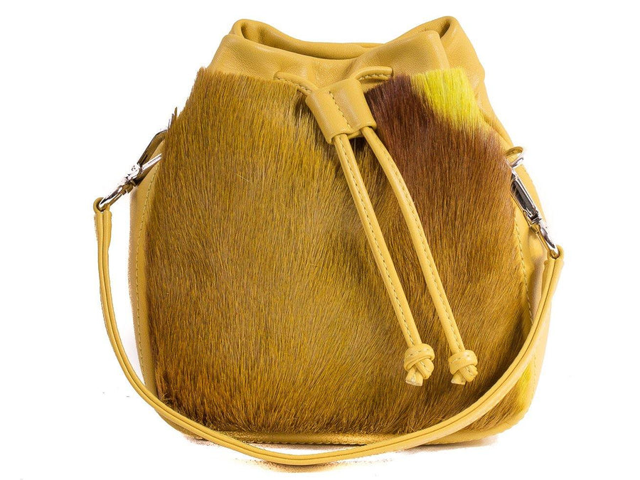 sherene melinda springbok hair-on-hide yellow leather pouch bag stripe front strap