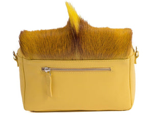 sherene melinda springbok hair-on-hide yellow leather shoulder bag Fan back