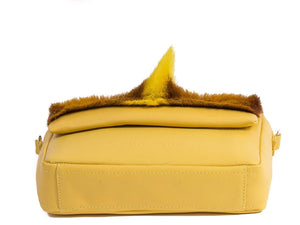 sherene melinda springbok hair-on-hide yellow leather shoulder bag Fan bottom