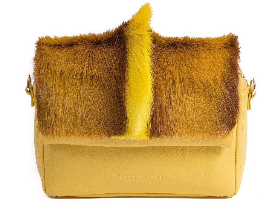 sherene melinda springbok hair-on-hide yellow leather shoulder bag fan front strap