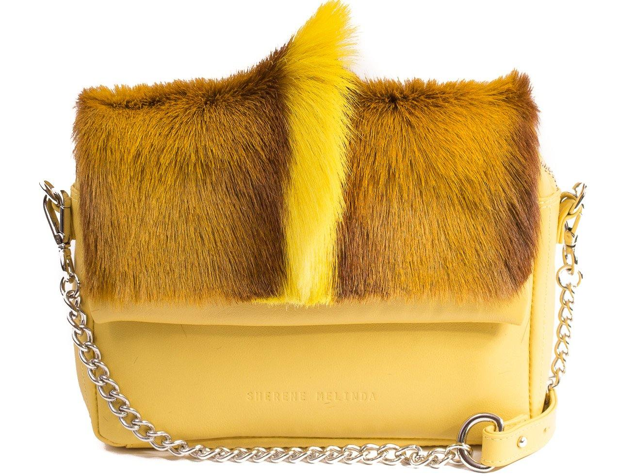 a3e4324a37 sherene melinda springbok hair-on-hide yellow leather shoulder bag fan  front strap
