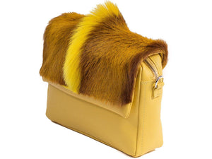 sherene melinda springbok hair-on-hide yellow leather shoulder bag Fan side angle