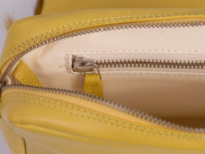 sherene melinda springbok hair-on-hide yellow leather shoulder bag inside