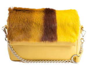 sherene melinda springbok hair-on-hide yellow leather shoulder bag stripe front strap