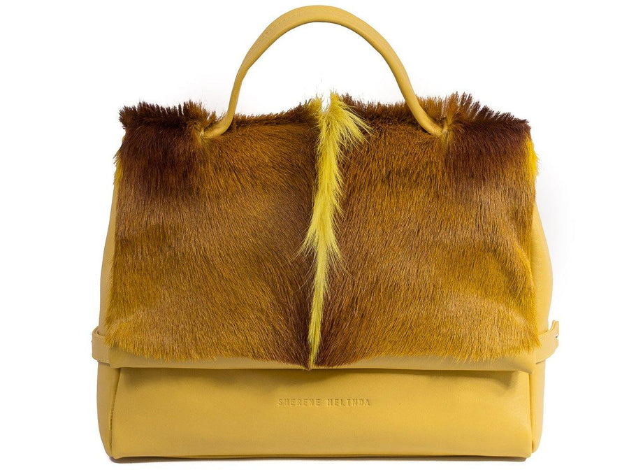 sherene melinda springbok hair-on-hide yellow leather smith tote bag fan front strap