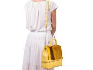 sherene melinda springbok hair-on-hide yellow leather smith tote bag stripe context
